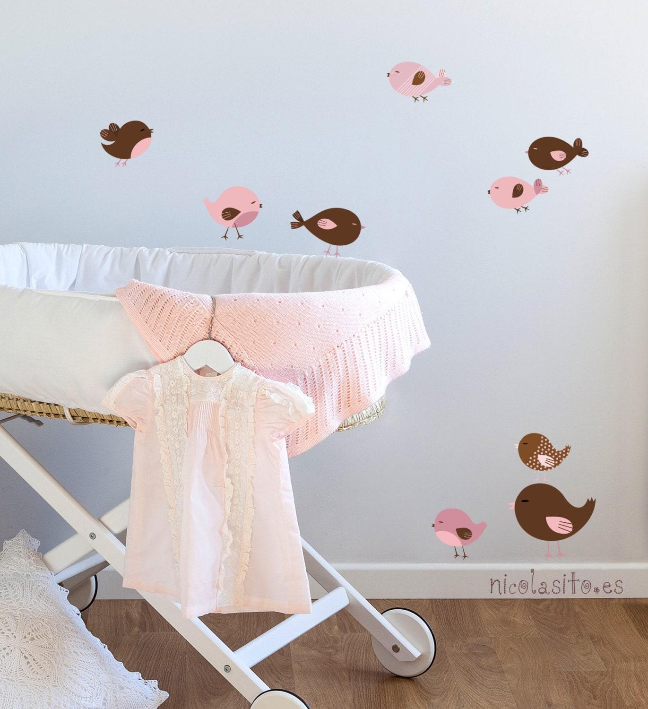 Vinilos de pajaritos rosa marr n decoraci n bonita para beb s for Vinilos para ninas