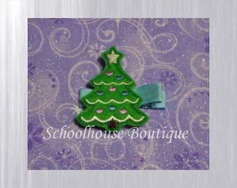 Christmas Tree Felt Hair Clips,Felties, Feltie Hair Clip, Felt Hairbow, Felt Hair Clip, Felt Hair Clippie, Party Favor