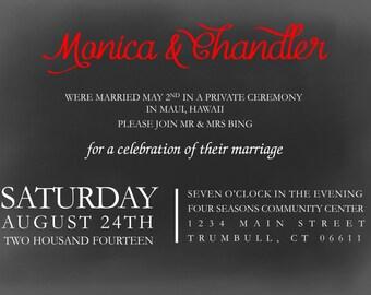 Wedding Reception: Chalkboard Printable 5x7 Digital Invitation