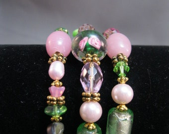 Pink and green Ventian glass wrap bracelet