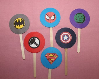 12 Super Hero Cupcake Flags