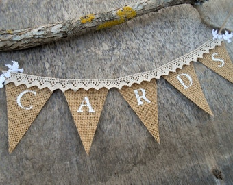 Wedding Cards Banner Wedding Reception Banner Burlap Wedding Cards Bunting Wedding Cards Sign Shower Cards Banner Lace Cards Banner