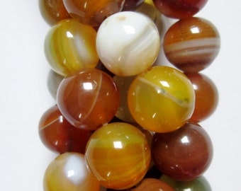 """Natural Agate Beads - Round 10 mm Gemstone Beads - Full Strand 15"""", 38 beads, A-Quality, item 3"""