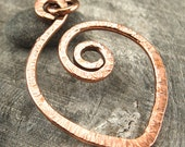 Textured Chevron Copper Pendant, Artisan Made Wirework Jewelry Supply