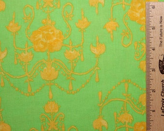 Tina Givens fabric Olivia's Holiday Garden Chandelier TG72 Green Gold yellow abstract sewing quilting 100% cotton fabric by the yard