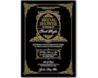 Black and Gold Gatsby Invitation Art Deco Ornate For Birthday Bridal Shower or Party Printable 21st 30th 40th 50th 60th 70th
