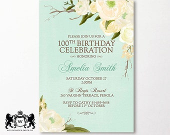 100th Birthday Invitation Roses Floral Flowers Printable Also Suitable for 60th 80th 70th 50th 90th Milestone Birthday Watercolour Yellow