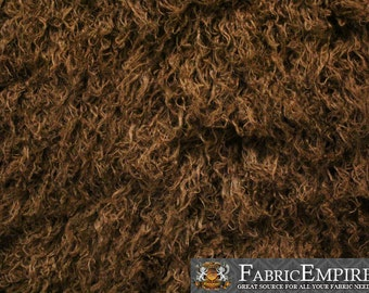 "Faux Fur Long Pile Curly Fabric ALPACA BROWN / 60"" Wide / Sold by the Yard"