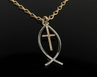 Popular items for jesus fish necklace on etsy for Jesus fish necklace