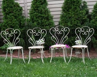 Antique French Metal Chairs Garden Patio