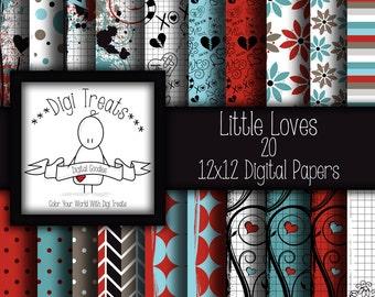 30% OFF~Little Loves, 12x12 Digital Scrapbook Paper, Hand Drawn Doodles, LOVE, Scrapbooking, Card making, Digital Paper, Instant Download.