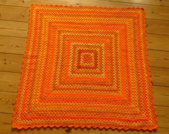 "Orange Baby Blanket Yellow Baby Blanket 31""x31"""