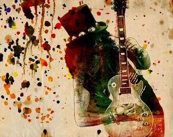 Slash Art, Guns n Roses Painting, Original Watercolor Art Print