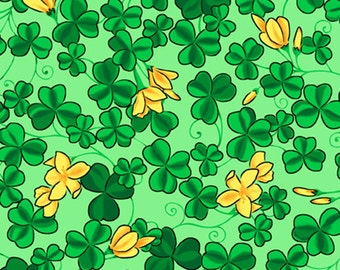 Half Yard Kiss Me I'm Irish - Small Shamrocks in Green - St. Patrick's Day Cotton Quilt Fabric - Quilting Treasures - 23051-H (W2545)