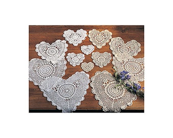 White Lace Crochet Heart Doily, Handmade, 100% Cotton Crochet., Set of 12 Pieces.  20003.WH