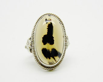Vintage Art Deco Sterling Silver Moss Agate Ring - 1930s Moss Agate Ring - Vintage Stone Jewelry