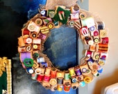 Large Statement Wreath Multi-Seasonal Spools/Buttons/Buckles Year-Round Interest Boho Chic Ooak