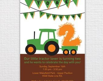 Custom Tractor Birthday Invitation - PDF Printable