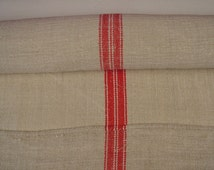 Red Stripe Limestone Beige Vintage Linen Grainsack Fabric on the Roll 310cms 122 inches - NLR1415