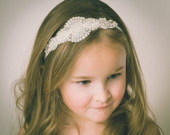 Flower Girl Headband, Rhinestone Headband, Bridal Headband, Crystal Headband, Gatsby Headband, Bling Headband, Wedding Headband