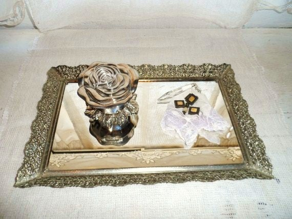 Mirror vanity tray dresser tray decorative metal tray with for Decorative bathroom tray