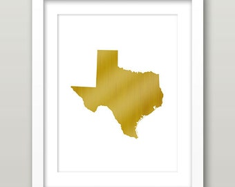 Texas Gold Art, Texas State Gold Wall Art, Texas Wall Art, Texas Print, Texas Gold Print