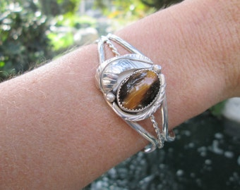 Tiger Eye and Sterling Silver Feather Cuff Bracelet