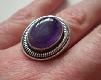 Amethyst (Natural) Sterling Silver Plated Size 8 Ring