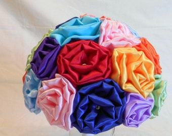 Wedding Bouquet, Bridal Bouquet, Fabric Bouquet, Rainbow Bouquet, Satin Bouquet, Keepsake Bouquet