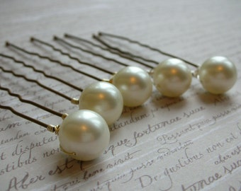 Large Ivory Shell Pearl Hair Pins - Set of 5