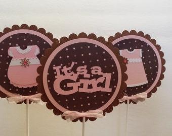 It's a Girl Centerpiece Sticks - Baby Girl Centerpiece Sticks - Baby Shower Decoration Sticks Set of 3