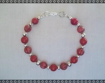 red bracelet, coral bracelet, Swarovski bracelet, red coral bracelet