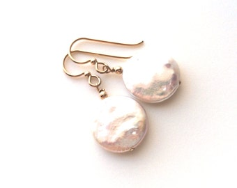 Freshwater Coin Pearl Gold Earrings, June Birthstone Earrings