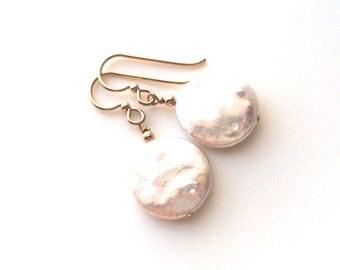 Freshwater Coin Pearl Gold Earrings, June Birthstone Earrings
