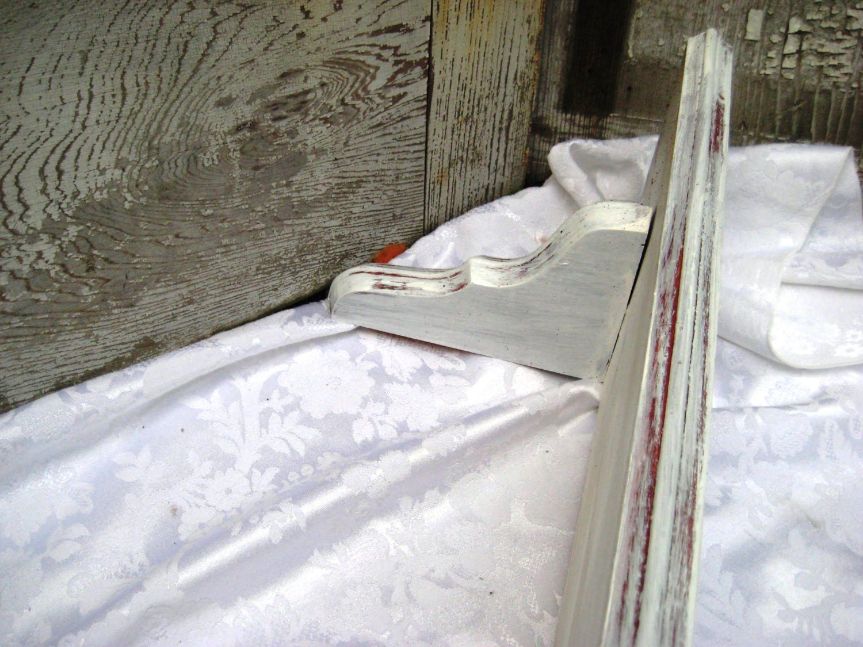 Long White Distressed Shelf Wood Shelf Shabby By