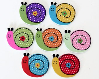 10 Snail Shaped Buttons - Painted Wood Buttons - 24mm x 28mm - Bug Buttons - Garden Buttons - Wooden Insect Buttons - PW90
