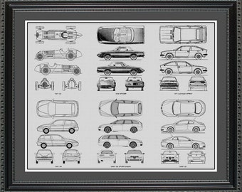 Ford mustang blueprint framed art car auto gift choose your alfa romeo blueprint collection drawing art car auto gift balfa2024 malvernweather Image collections