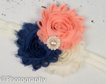 Peach Navy Ivory Headband, Peach Navy Shabby Headband, Baby Headband, Shabby Chic Flower Headband, Baby Girl Headband, Navy Flower Headband