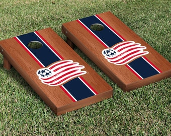 New England Revolution Cornhole Set - Stained Version - MLS Licensed - Full Size Cornhole Set