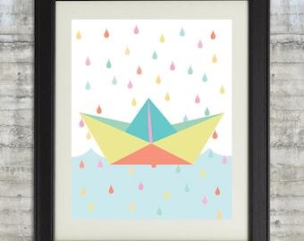 Paper Boat Art, Paper Boat Nursery Art, Paper Boat Wall Art, Paper Boat Printable, Paper Boats, Origami Wall Art, Pastel Nursery Art 8x10