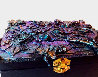Custom order jewelry box, handmade steampunk inspired boxes by Felicianation