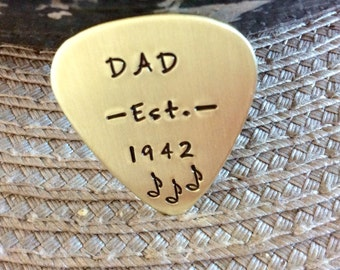 Hand stamped Brass Guitar pick for Dad. Personalized just for him
