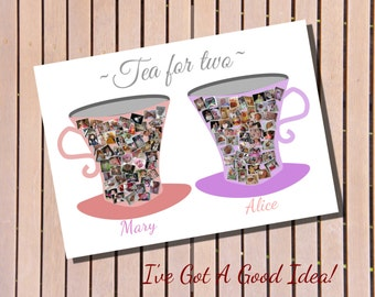 Unique Custom Personalised Tea cup Photo Collage - perfect for sisters / best friends / mother / daughter