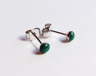 Small Resin Studs Emerald Green  Earrings with Stainless Steel Posts Modern Minimalist Jewelry