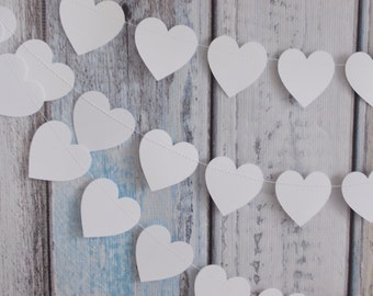 Heart Garland, White Heart Garland, Party Decoration, Birthday Party, Shower Garland, Wedding Garland, 10'