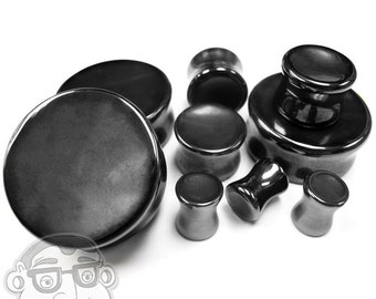 "Concave Hematite Stone Plugs  (2G - 1 & 1/4"" Inch) Sold In Pairs - New!"