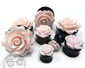 Pink Rosebud Black Plugs - Sizes / Gauges 0G - 1 Inch Sold In Pairs - NEW!