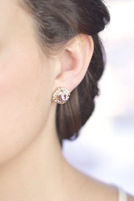 blush pink gold halo Swarovski studs