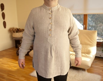 17th century style natural linen handmade men's shirt with antler buttons
