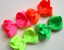 Set of Four Neon 2.5 Inch Bows